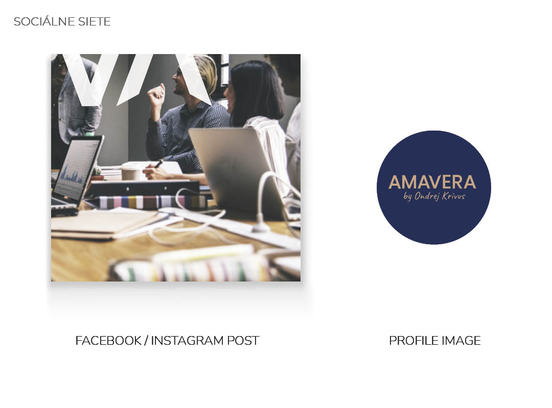 Návrh pre sociálne siete firemnej identity AMAVERA