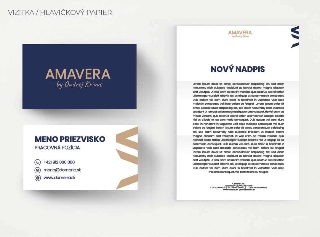 Ukážka vizitky a hlavičkového papiera firemnej identity AMAVERA